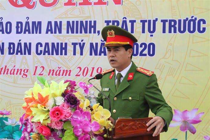 Đại tá Nguyễn Đức Hải, Phó Giám đốc Công an tỉnh phát biểu tại buổi lễ
