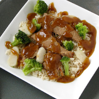 Asian Beef Brisket with Broccoli and Water Chestnuts.
