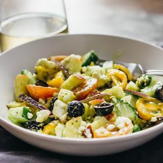 Best Greek Salad With Creamy Avocado Dressing.