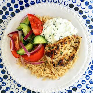Greek Chicken Rice Bowl.