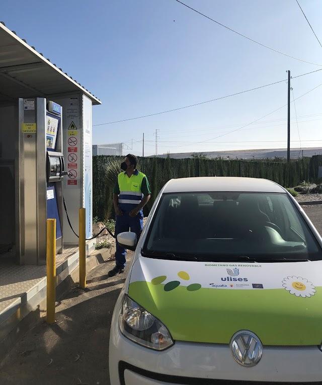 Repostaje vehículo biometano, Proyecto Ulises Almería.