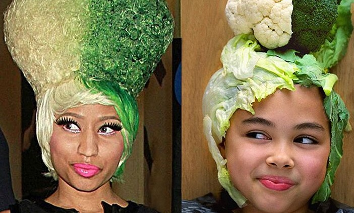 Riley Dashwood used broccoli, cauliflower and cabbage leaves to recreate one of rapper Nicki Minaj's wigs.