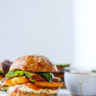 Grilled Veggie Sliders with Goat Cheese Spread and Roasted Red Pepper Vinaigrette.