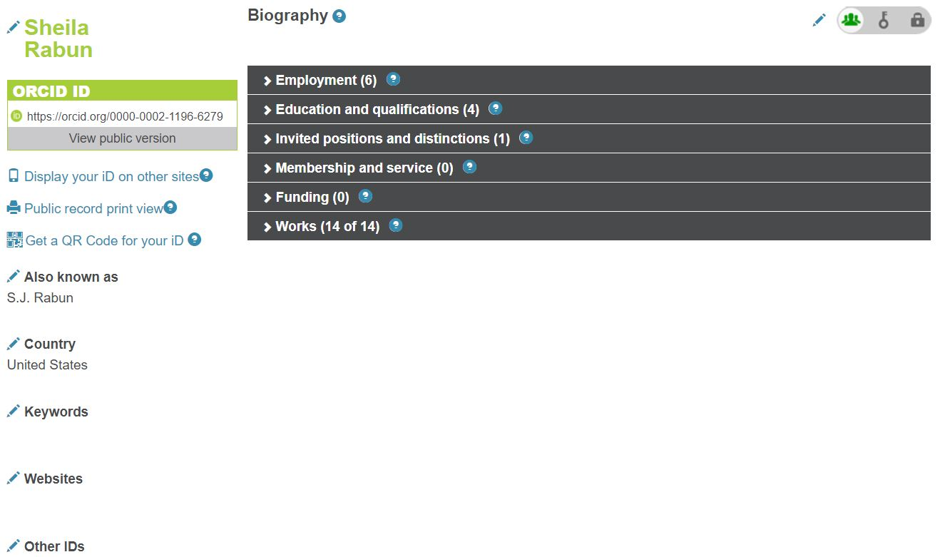 The image is a screenshot of an ORCID record, showing fields for name, ORCID iD, alternate names, country, keywords, websites, other IDs, biography, employment, education and qualifications, invited positions and distinctions, membership and service, funding, and works.
