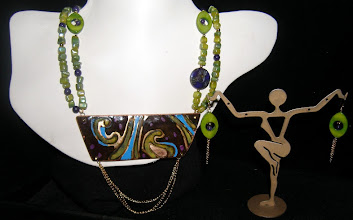 Photo: <BEREHYNYA> {Great Goddess Protectress} unique one-of-a-kind statement jewellery by Luba Bilash ART & ADORNMENT  #92 -PERSEA AMERICANA ~ ПЕРСЕЯ АМЕРИКАНА - copper enamel pendant; shell; 14K gold vermeil $150/set
