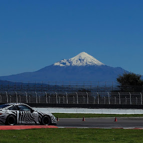 Volcano and Porsche by Cristobal Garciaferro Rubio - Transportation Automobiles ( gt3, volcano, gte cup, porsche, pico de orizaba, citlaltepetl, racing car, snowy volcano )