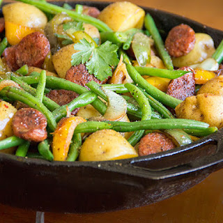 Sausages, Onions, Potatoes, Peppers and Green Beans.