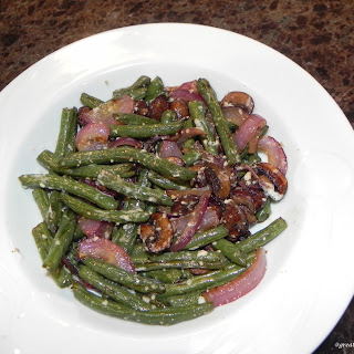 Roasted Mushrooms, Green Beans, and Onions with Garlic Parmesan Butter.
