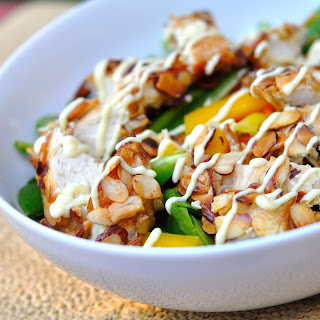 Almond-crusted Chicken Salad with Honey Mustard Dressing.