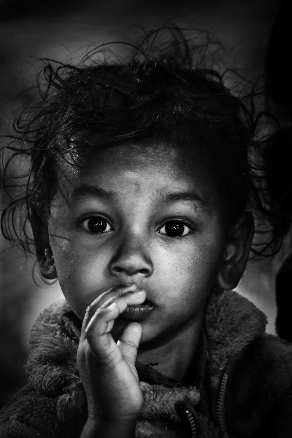 FACE by Sourav Rocky - Black & White Portraits & People ( child, face, black and white, innocent, child portrait )