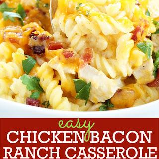 Easy Gluten Free Chicken Bacon Ranch Casserole.