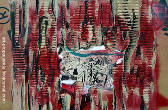 """Photo: """"Старая фреска"""" 2005г. О.Новиков гофрокартон, бумага, тушь, зелёнка, кисть, аэрозоль"""