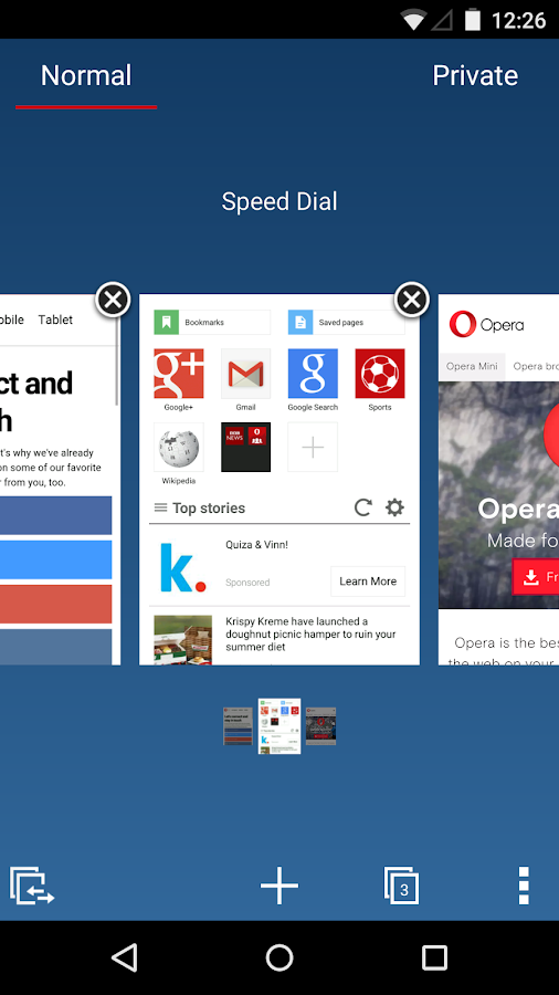Browser Opera Mini beta- screenshot