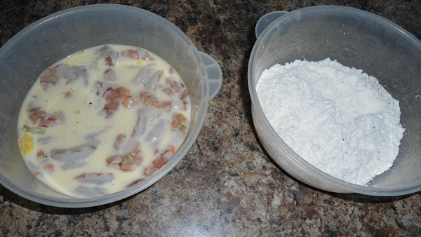You will need several bowls. One bowl for flour and one for egg and...