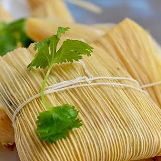 Vegetarian Tamales with Spinach, Corn and Cheese Filling.