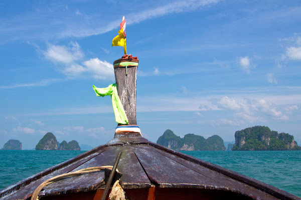 Head over to Hong Island by longtail boat