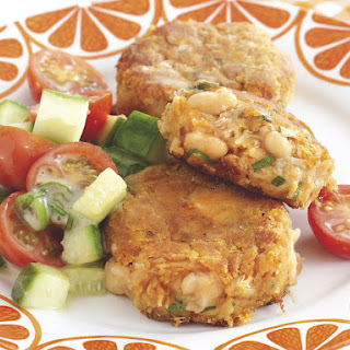 Sweet Potato and Tuna Patties with Tomato Salad.