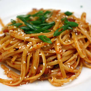 Kimchi Pasta with Bacon and Sesame Seeds.