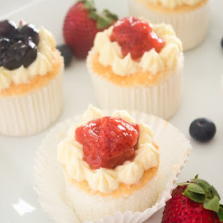 Angel Food Cupcakes with Fresh Berry Compote.