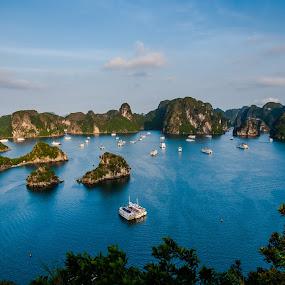 ha long bay by Sorin Tanase - Landscapes Travel ( sunset, ha long bay, boats, vietnam, landscape )