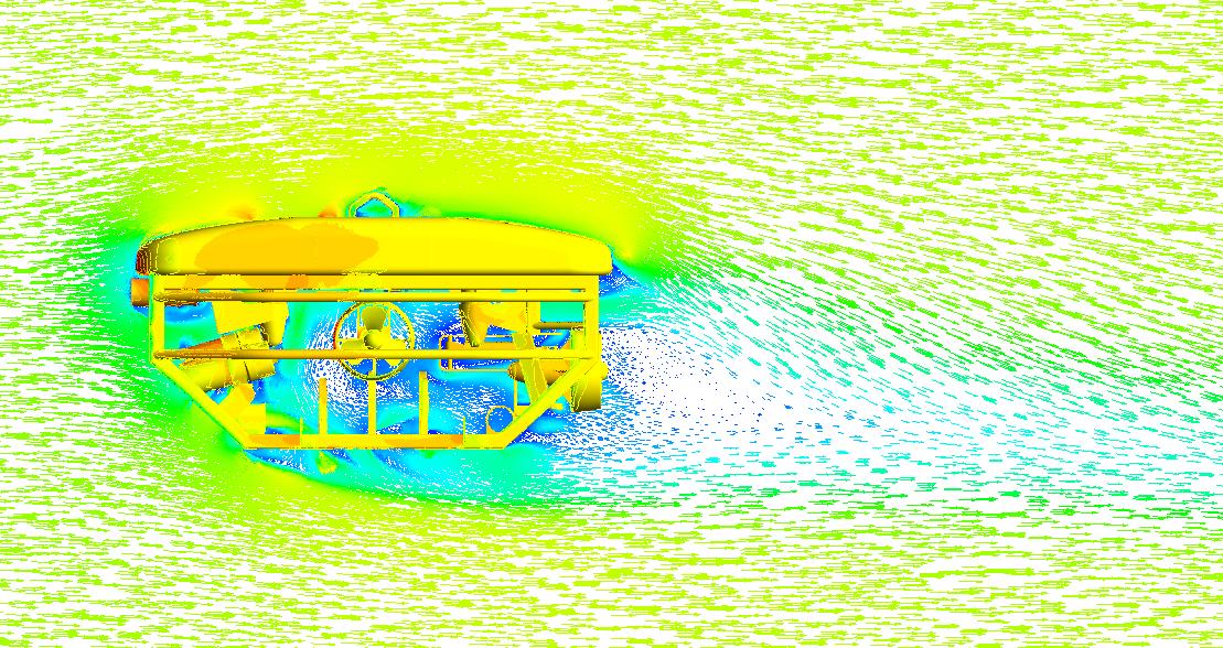ANSYS Распределение давлений на поверхности АДУ и вектора скорости на плоскости симметрии