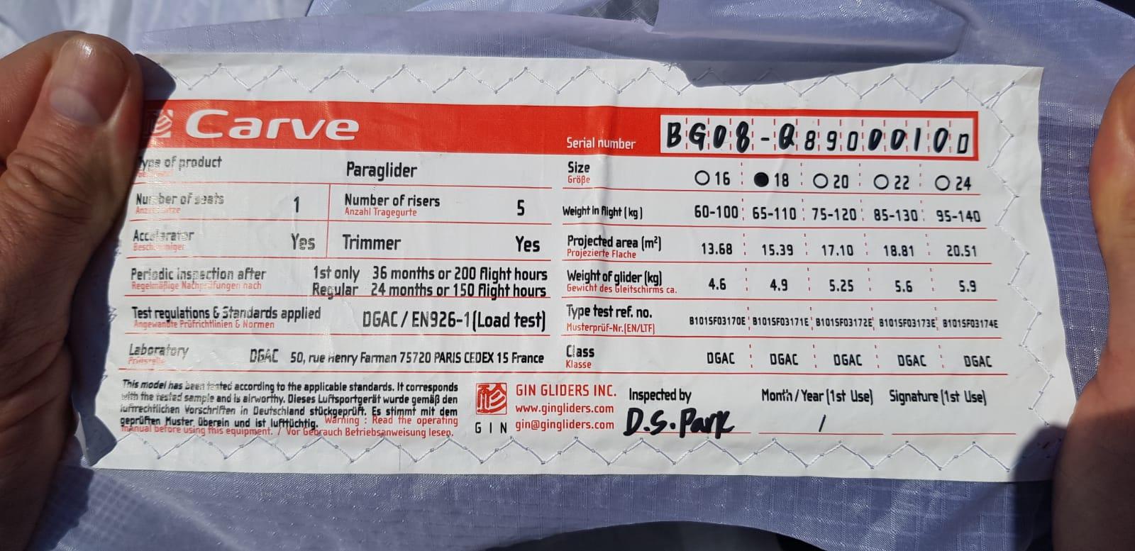 Gin Carve freestyle glider