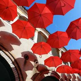 red umbrellas 2013 by Isabella Scotti - Buildings & Architecture Other Exteriors ( umbrellas, red, world_is_red, san francesco cloister, circle, pwc79, , color, colors, landscape, portrait, object, filter forge, colorful, mood factory, vibrant, happiness, January, moods, emotions, inspiration )