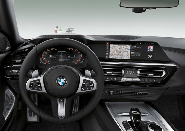 The interior of the BMW Z4, revealed in 2018, gets much more tech including a head-up display and digital instrument cluster.