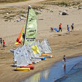 On the Beach by Richard Michael Lingo - Transportation Boats ( sailboats, beach, boats, morocco, transportation )