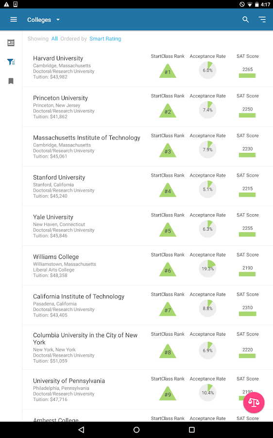 College & University Search- screenshot