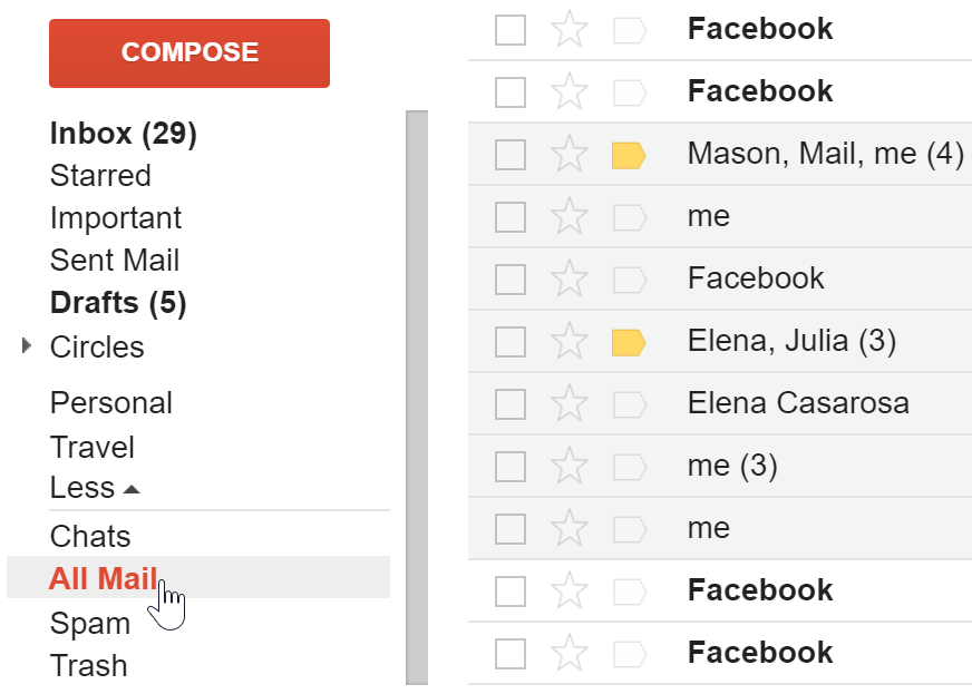 Viewing all mail, including archived messages