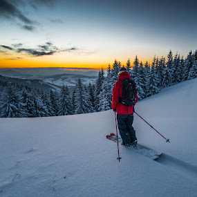 Lonely after sunset :) by Laky Kucej - Sports & Fitness Snow Sports (  )