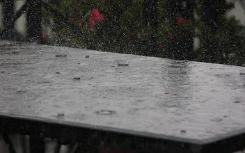 Photo: Year 2  Day 16  -  Rain on Outside Restaurant Tables at  Xuan Huong Lake
