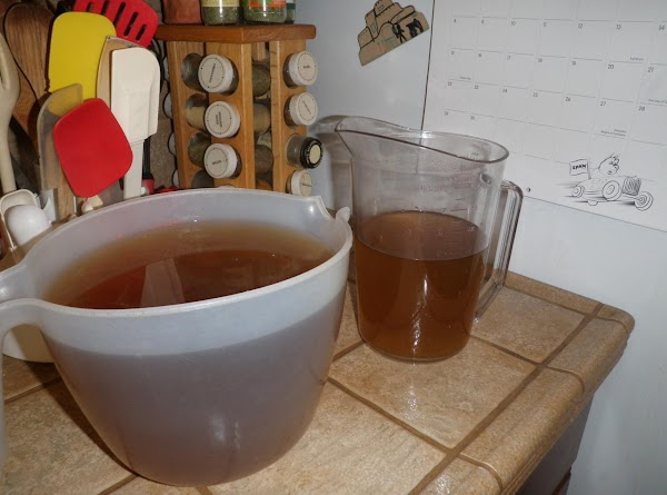 Strain cooled stock through a strainer lined with a double thickness of cheesecloth.
