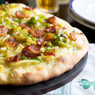 Irish Cheddar and Potato Pizza with Leeks and Bacon