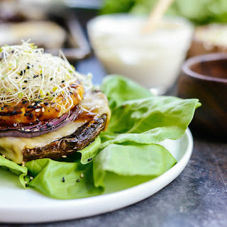 Grilled Teriyaki Portobello Burgers with Honey Wasabi Mayo.
