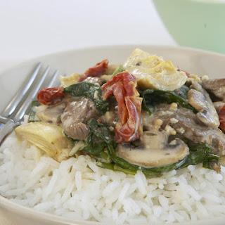 Beef wtih Creamy Mushroom Sauce.