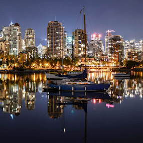 Glass Jungle by Cory Bohnenkamp - City,  Street & Park  Night ( water, skyline, jungle, glass, reflections, night, vancouver, city )
