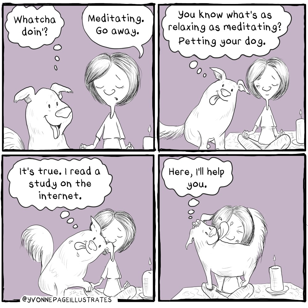 Four panel cartoon where dog tries to interrupt owner trying to meditate.