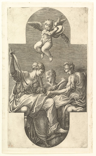 Three Muses and a Putto with Cymbals, a cruciform composition, from a series of eight compositions after Francesco Primaticcio's designs for the ceiling of the Gallery of Ulysses (destroyed 1738-39) at Fontainebleau