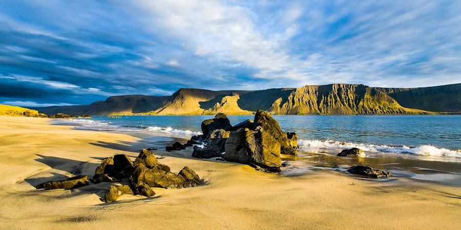 On A Calm August Evening - Talknafjordur, west Iceland by Páll Guðjónsson - Landscapes Beaches ( clouds, sand, blue, dyrafjörður, outdoors, ísland, vestfirðir, tranquility, yellow, beach )