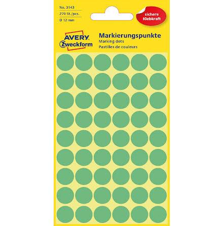 Etikett 12mm rund grön  270/fp