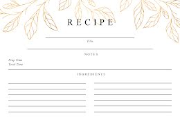 Gold Leaves Front - Recipe Card item
