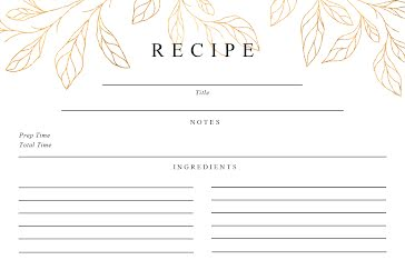 Gold Leaves Front - Recipe Card Template