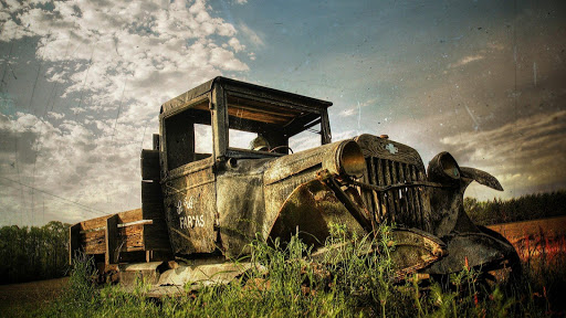 Abandoned.Old cars.Wallpaper