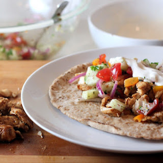 Chicken Shawarma with Tomato-Cucumber Relish and Tahini Sauce