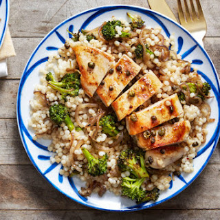 Seared Chicken & Pearl Couscous with Crispy Capers & Blood Orange Sauce.