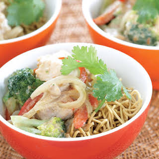 Satay Chicken with Crispy Noodles.