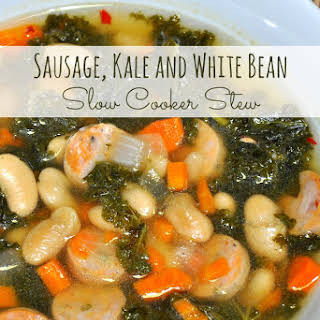 Sausage, Kale and White Bean Slow Cooker Stew.
