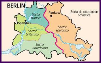 Mapa de la subdivisión de Berlín tras la conquista